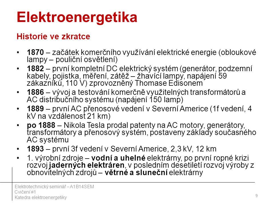 Elektroenergetika Historie ve zkratce 1870 – začátek komerčního využívání elektrické energie (obloukové lampy – pouliční osvětlení) 1882 – první kompletní DC elektrický systém (generátor, podzemní kabely, pojistka, měření, zátěž – žhavící lampy, napájení 59 zákazníků, 110 V) zprovozněný Thomase Edisonem 1886 – vývoj a testování komerčně využitelných transformátorů a AC distribučního systému (napájení 150 lamp) 1889 – první AC přenosové vedení v Severní Americe (1f vedení, 4 kV na vzdálenost 21 km) po 1888 – Nikola Tesla prodal patenty na AC motory, generátory, transformátory a přenosový systém, postaveny základy současného AC systému 1893 – první 3f vedení v Severní Americe, 2,3 kV, 12 km 1.