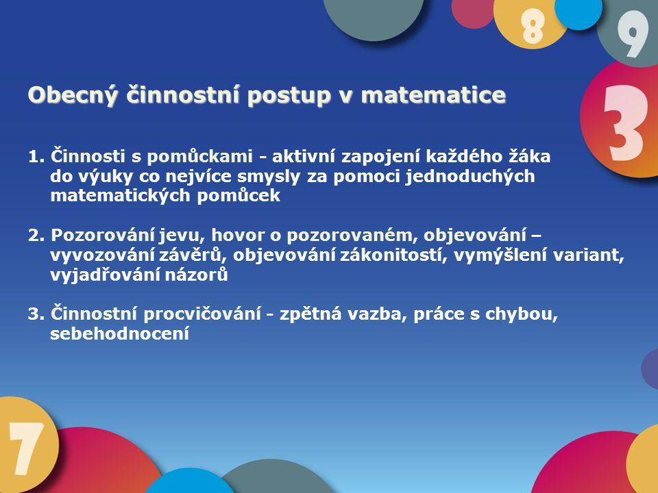 Obecný činnostní postup v matematice 1. Činnosti s pomůckami - aktivní zapojení každého žáka do výuky co nejvíce smysly za pomoci jednoduchých matemat