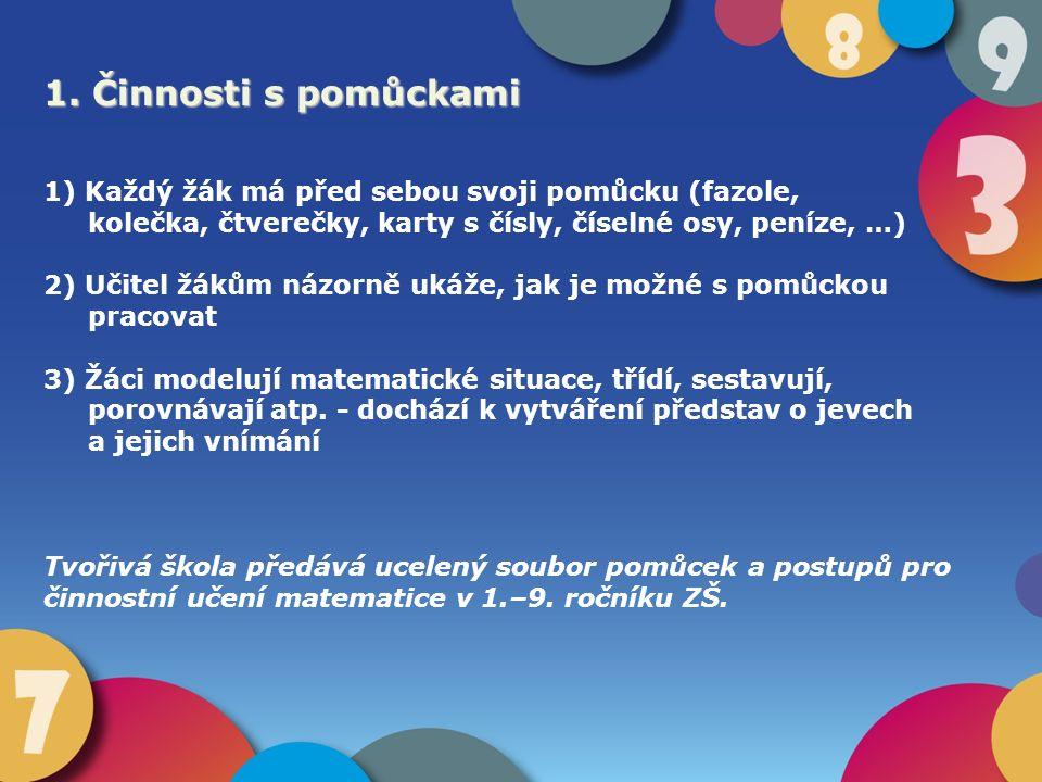1. Činnosti s pomůckami 1) Každý žák má před sebou svoji pomůcku (fazole, kolečka, čtverečky, karty s čísly, číselné osy, peníze, …) 2) Učitel žákům n