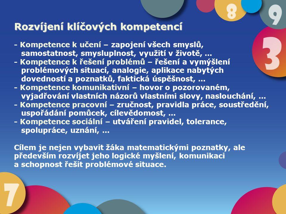 Rozvíjení klíčových kompetencí - Kompetence k učení – zapojení všech smyslů, samostatnost, smysluplnost, využití v životě, … - Kompetence k řešení pro