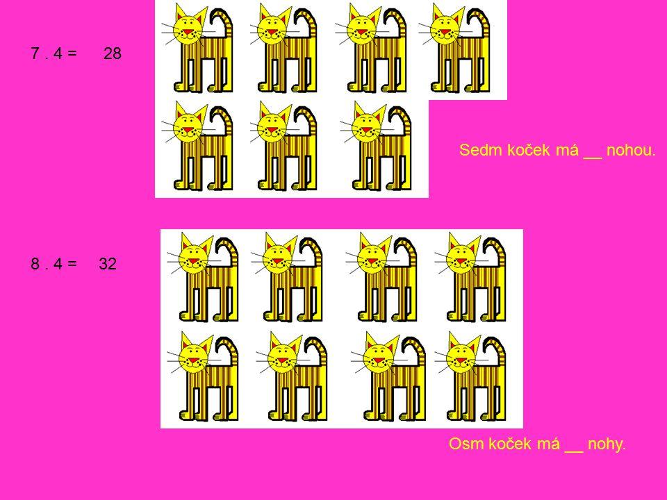 9. 4 = 10. 4 = 36 40 Devět koček má __ nohou. Deset koček má __ nohou.