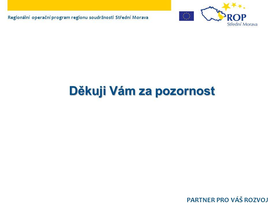Regionální operační program regionu soudržnosti Střední Morava PARTNER PRO VÁŠ ROZVOJ Děkuji Vám za pozornost