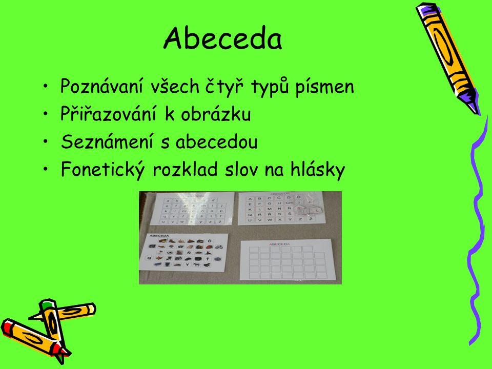 Abeceda Poznávaní všech čtyř typů písmen Přiřazování k obrázku Seznámení s abecedou Fonetický rozklad slov na hlásky