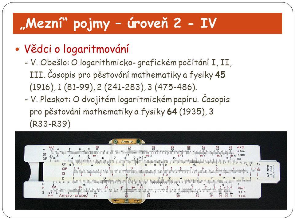 """""""Mezní"""" pojmy – úroveň 2 - IV Vědci o logaritmování - V. Obešlo: O logarithmicko- grafickém počítání I, II, III. Časopis pro pěstování mathematiky a f"""