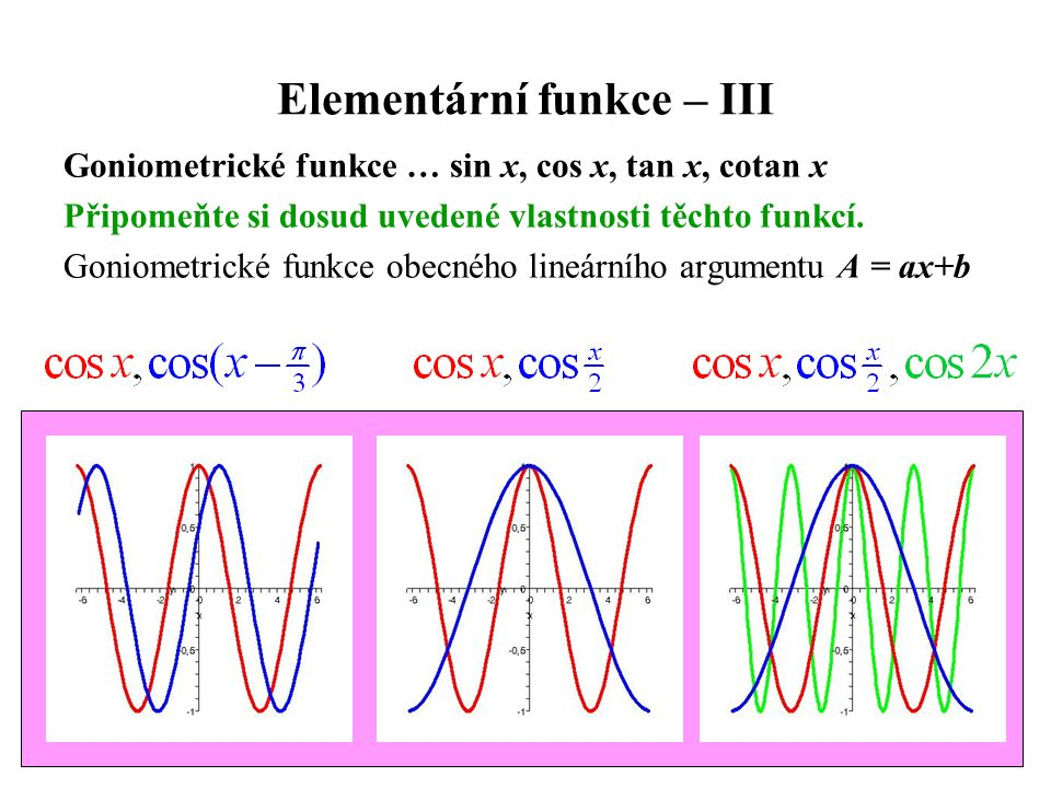 Elementární funkce – III Goniometrické funkce … sin x, cos x, tan x, cotan x Připomeňte si dosud uvedené vlastnosti těchto funkcí. Goniometrické funkc