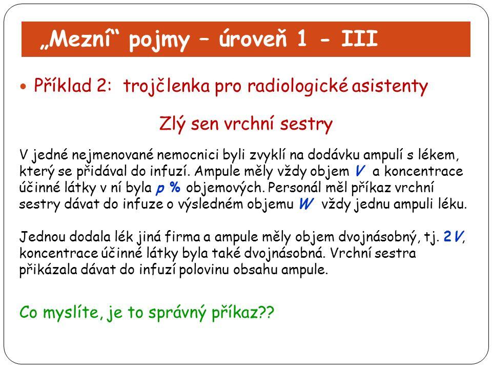"""""""Mezní"""" pojmy – úroveň 1 - III Příklad 2: trojčlenka pro radiologické asistenty Zlý sen vrchní sestry V jedné nejmenované nemocnici byli zvyklí na dod"""