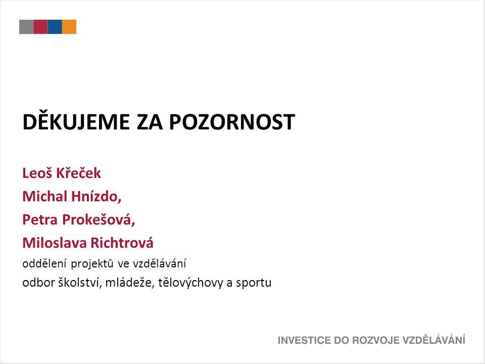 DĚKUJEME ZA POZORNOST Leoš Křeček Michal Hnízdo, Petra Prokešová, Miloslava Richtrová oddělení projektů ve vzdělávání odbor školství, mládeže, tělovýchovy a sportu