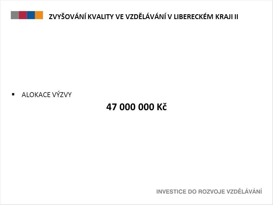 ZVYŠOVÁNÍ KVALITY VE VZDĚLÁVÁNÍ V LIBERECKÉM KRAJI II  ALOKACE VÝZVY 47 000 000 Kč