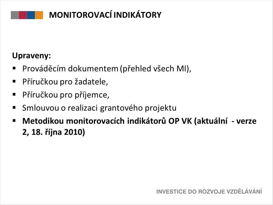 Upraveny:  Prováděcím dokumentem (přehled všech MI),  Příručkou pro žadatele,  Příručkou pro příjemce,  Smlouvou o realizaci grantového projektu  Metodikou monitorovacích indikátorů OP VK (aktuální - verze 2, 18.