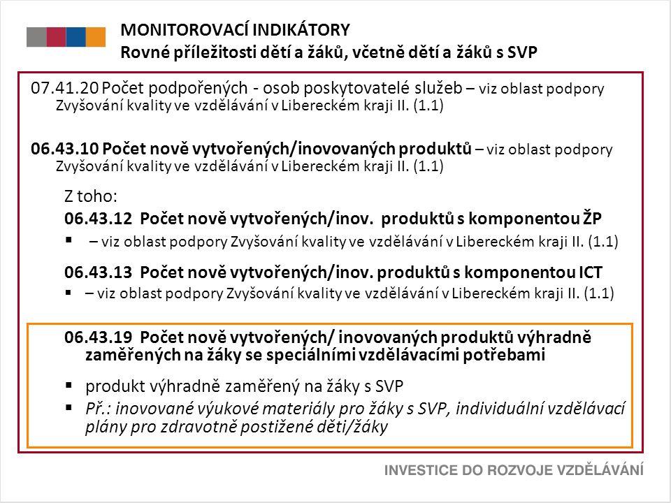 MONITOROVACÍ INDIKÁTORY Rovné příležitosti dětí a žáků, včetně dětí a žáků s SVP 07.41.20 Počet podpořených - osob poskytovatelé služeb – viz oblast podpory Zvyšování kvality ve vzdělávání v Libereckém kraji II.
