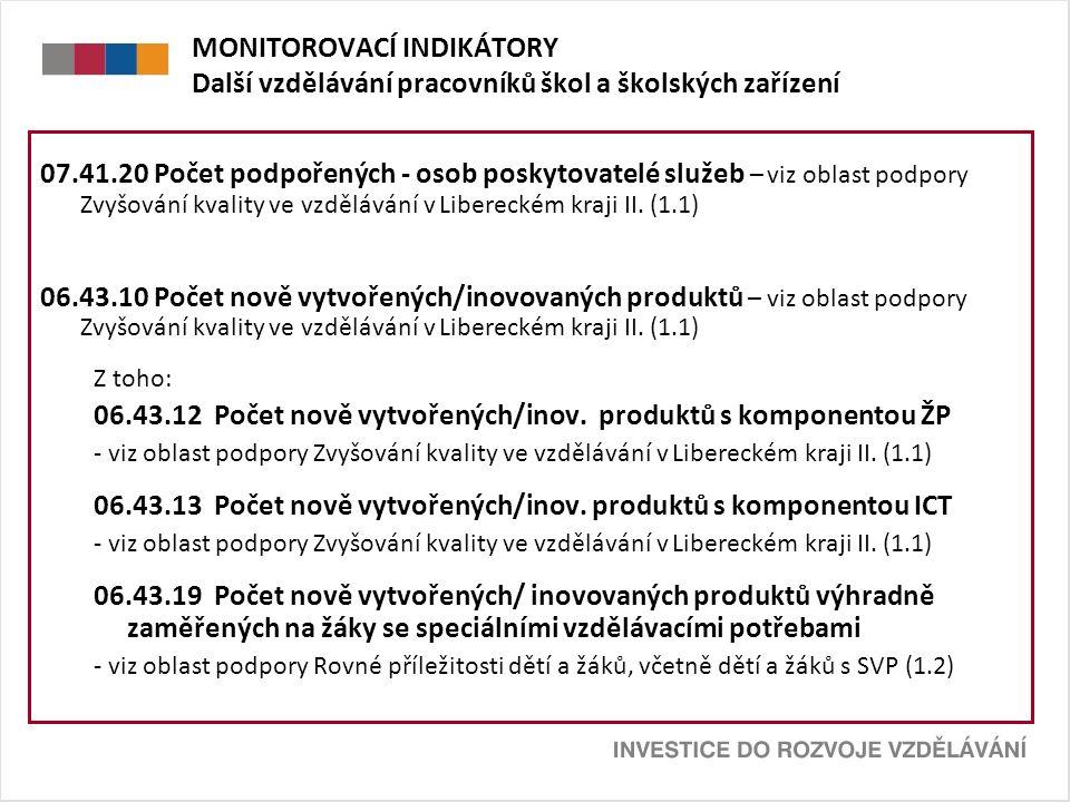 MONITOROVACÍ INDIKÁTORY Další vzdělávání pracovníků škol a školských zařízení 07.41.20 Počet podpořených - osob poskytovatelé služeb – viz oblast podpory Zvyšování kvality ve vzdělávání v Libereckém kraji II.