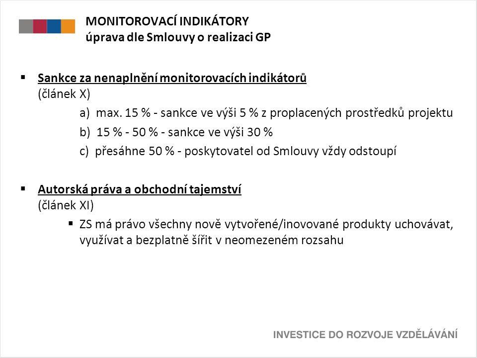 MONITOROVACÍ INDIKÁTORY úprava dle Smlouvy o realizaci GP  Sankce za nenaplnění monitorovacích indikátorů (článek X) a) max.