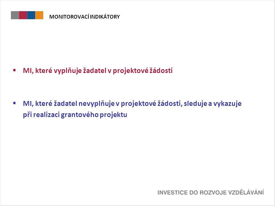 MONITOROVACÍ INDIKÁTORY  MI, které vyplňuje žadatel v projektové žádosti  MI, které žadatel nevyplňuje v projektové žádosti, sleduje a vykazuje při realizaci grantového projektu