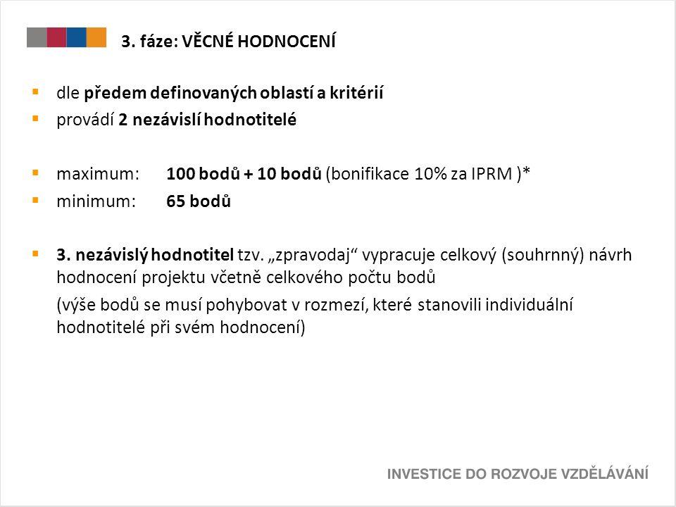 3. fáze: VĚCNÉ HODNOCENÍ  dle předem definovaných oblastí a kritérií  provádí 2 nezávislí hodnotitelé  maximum: 100 bodů + 10 bodů (bonifikace 10%