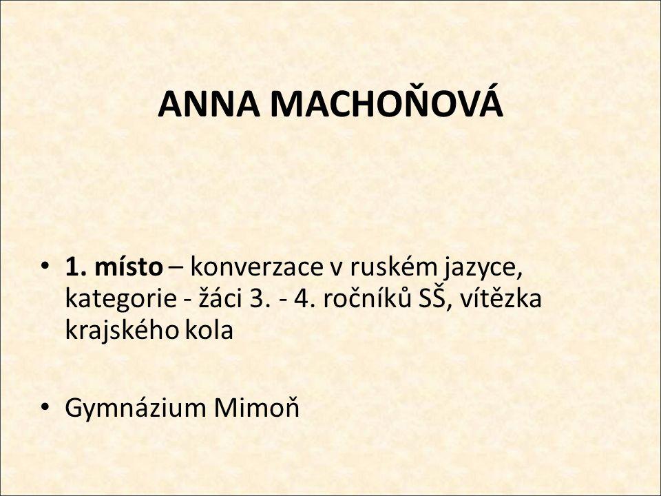 ANNA MACHOŇOVÁ 1. místo – konverzace v ruském jazyce, kategorie - žáci 3.