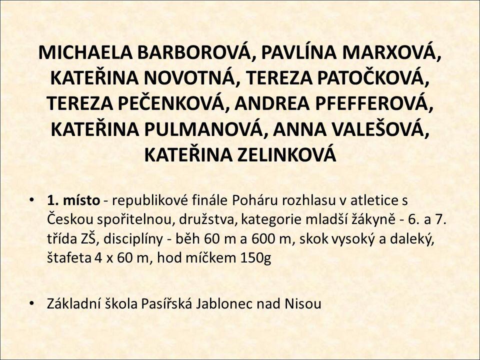MICHAELA BARBOROVÁ, PAVLÍNA MARXOVÁ, KATEŘINA NOVOTNÁ, TEREZA PATOČKOVÁ, TEREZA PEČENKOVÁ, ANDREA PFEFFEROVÁ, KATEŘINA PULMANOVÁ, ANNA VALEŠOVÁ, KATEŘINA ZELINKOVÁ 1.