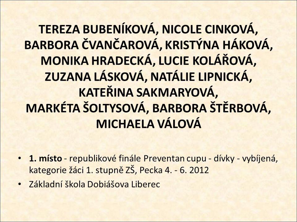 TEREZA BUBENÍKOVÁ, NICOLE CINKOVÁ, BARBORA ČVANČAROVÁ, KRISTÝNA HÁKOVÁ, MONIKA HRADECKÁ, LUCIE KOLÁŘOVÁ, ZUZANA LÁSKOVÁ, NATÁLIE LIPNICKÁ, KATEŘINA SAKMARYOVÁ, MARKÉTA ŠOLTYSOVÁ, BARBORA ŠTĚRBOVÁ, MICHAELA VÁLOVÁ 1.