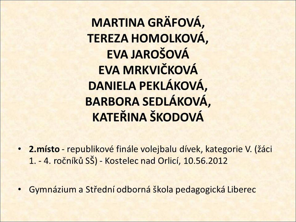 MARTINA GRÄFOVÁ, TEREZA HOMOLKOVÁ, EVA JAROŠOVÁ EVA MRKVIČKOVÁ DANIELA PEKLÁKOVÁ, BARBORA SEDLÁKOVÁ, KATEŘINA ŠKODOVÁ 2.místo - republikové finále volejbalu dívek, kategorie V.