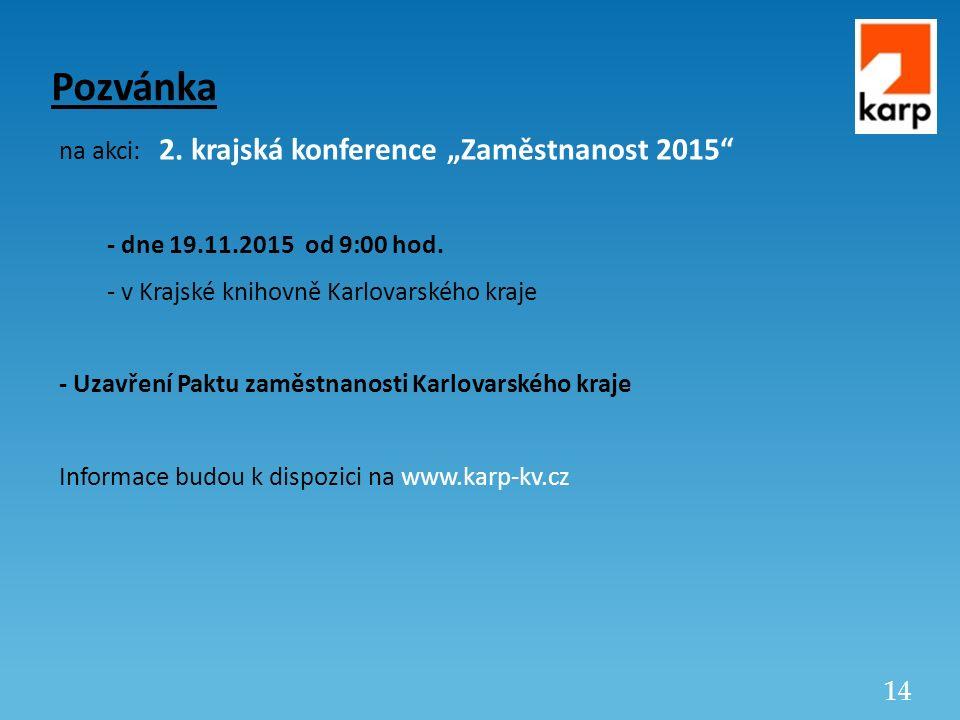 """14 Pozvánka na akci: 2.krajská konference """"Zaměstnanost 2015 - dne 19.11.2015 od 9:00 hod."""