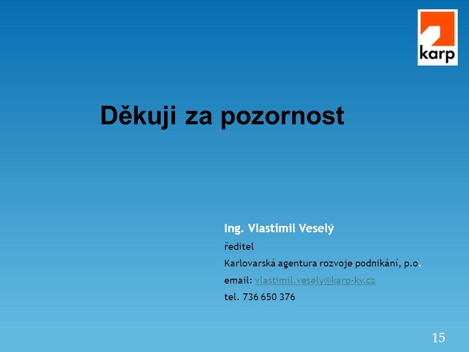 15 Děkuji za pozornost Ing.Vlastimil Veselý ředitel Karlovarská agentura rozvoje podnikání, p.o.