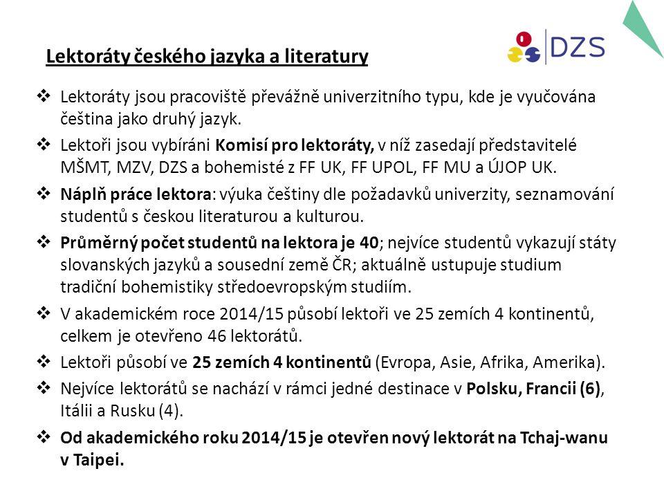 Lektoráty českého jazyka a literatury  Lektoráty jsou pracoviště převážně univerzitního typu, kde je vyučována čeština jako druhý jazyk.