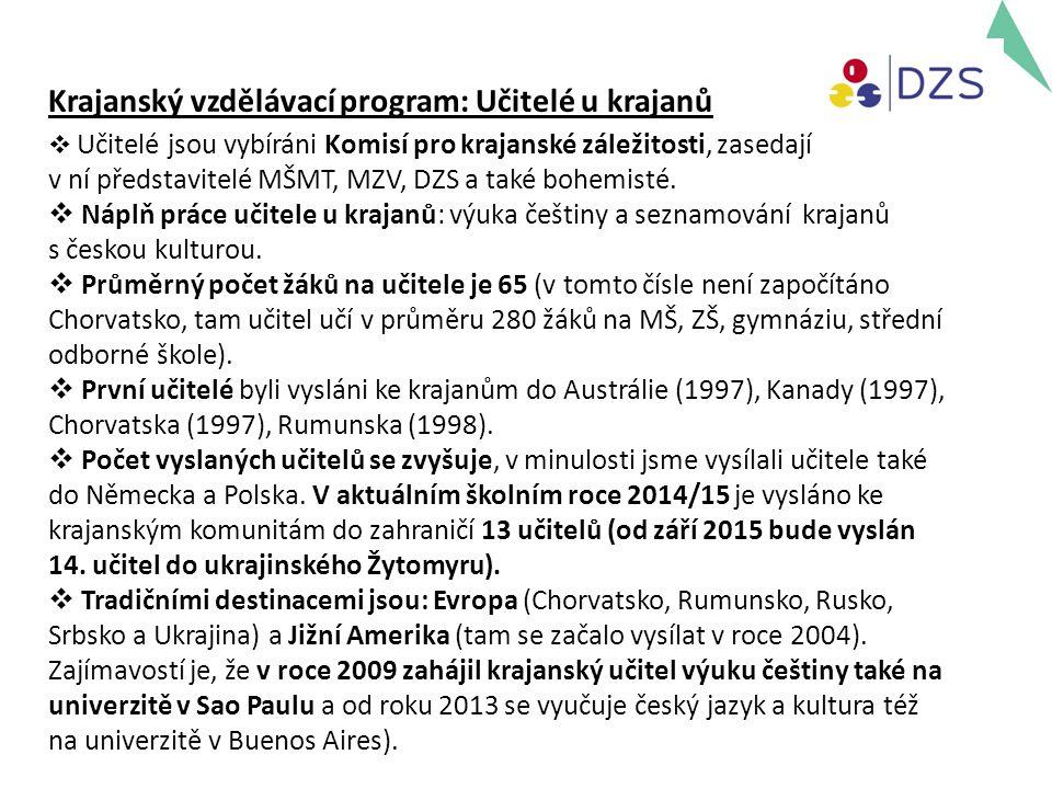 Krajanský vzdělávací program: Učitelé u krajanů  Učitelé jsou vybíráni Komisí pro krajanské záležitosti, zasedají v ní představitelé MŠMT, MZV, DZS a také bohemisté.