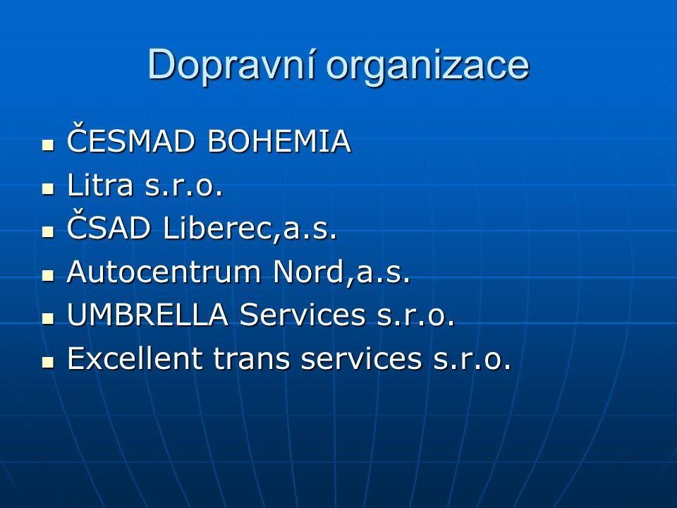 Dopravní organizace ČESMAD BOHEMIA ČESMAD BOHEMIA Litra s.r.o. Litra s.r.o. ČSAD Liberec,a.s. ČSAD Liberec,a.s. Autocentrum Nord,a.s. Autocentrum Nord