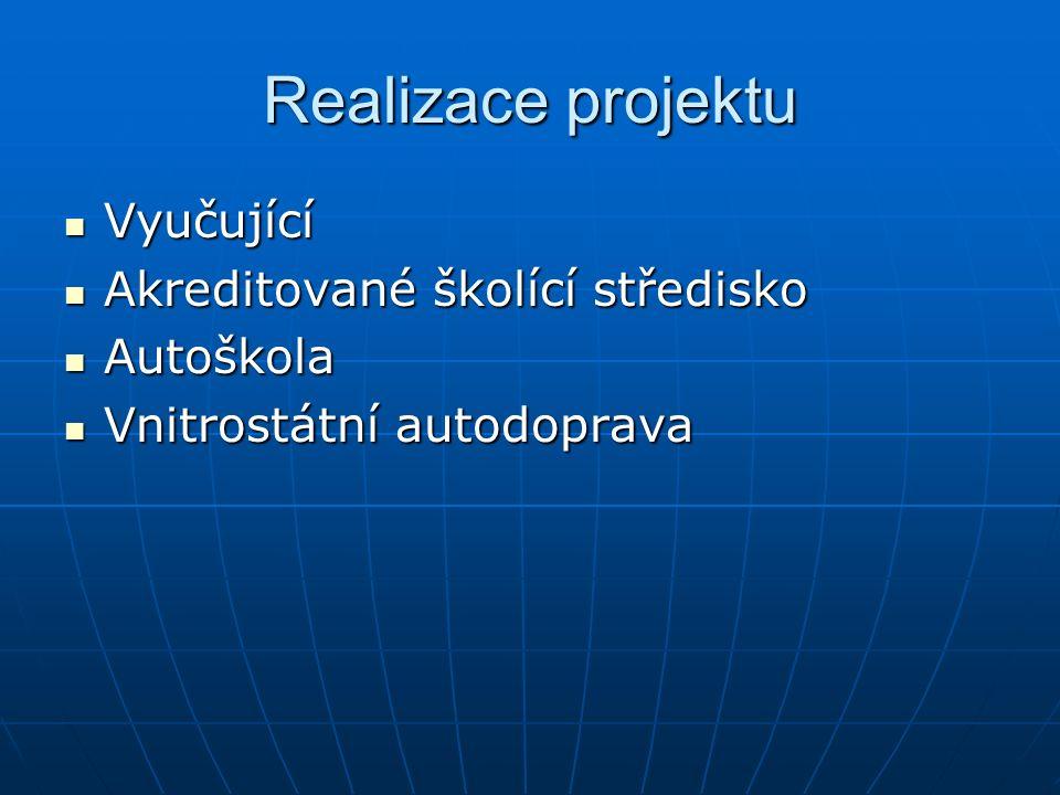 Realizace projektu Vyučující Vyučující Akreditované školící středisko Akreditované školící středisko Autoškola Autoškola Vnitrostátní autodoprava Vnit