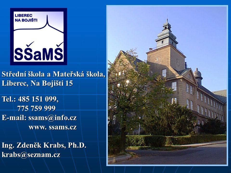 Střední škola a Mateřská škola, Liberec, Na Bojišti 15 Tel.: 485 151 099, 775 759 999 775 759 999 E-mail: ssams@info.cz www. ssams.cz www. ssams.cz In