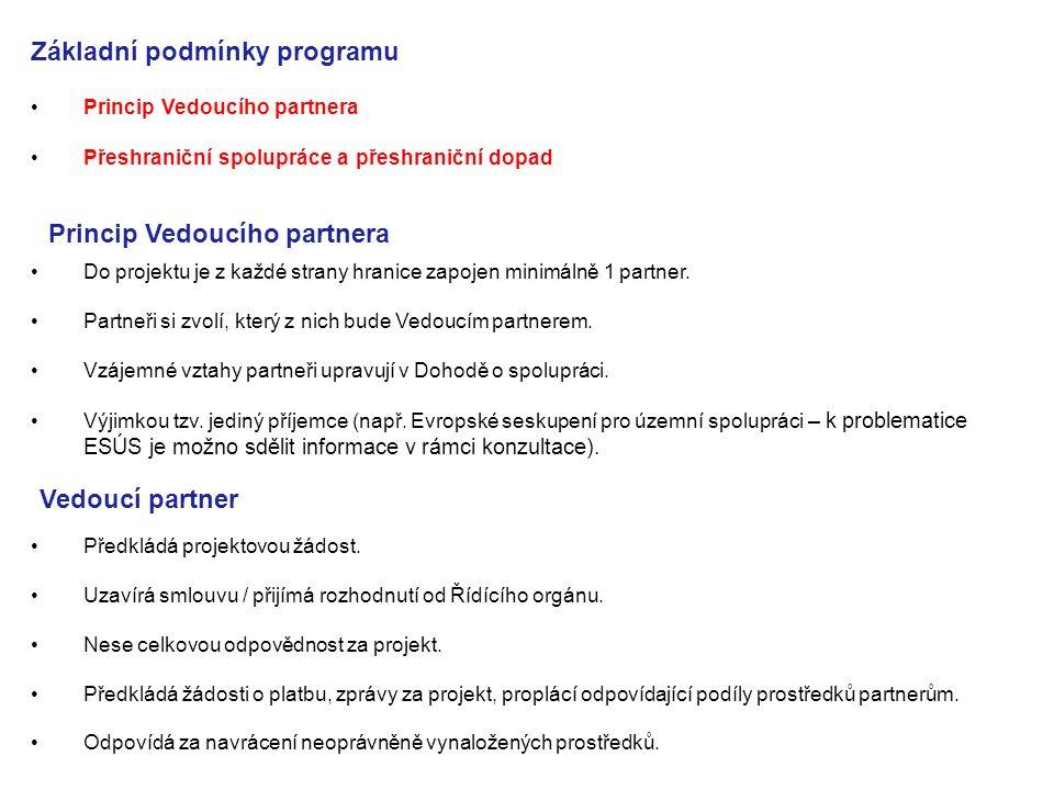 Princip Vedoucího partnera Přeshraniční spolupráce a přeshraniční dopad Základní podmínky programu Princip Vedoucího partnera Do projektu je z každé s
