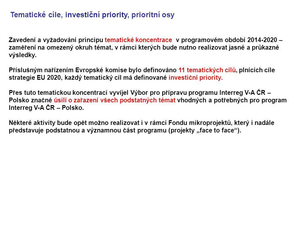 Zavedení a vyžadování principu tematické koncentrace v programovém období 2014-2020 – zaměření na omezený okruh témat, v rámci kterých bude nutno realizovat jasné a průkazné výsledky.