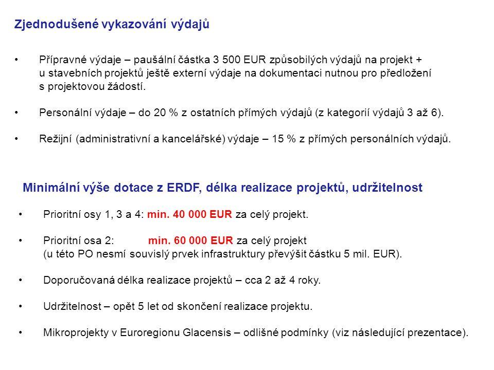 Zjednodušené vykazování výdajů Přípravné výdaje – paušální částka 3 500 EUR způsobilých výdajů na projekt + u stavebních projektů ještě externí výdaje na dokumentaci nutnou pro předložení s projektovou žádostí.