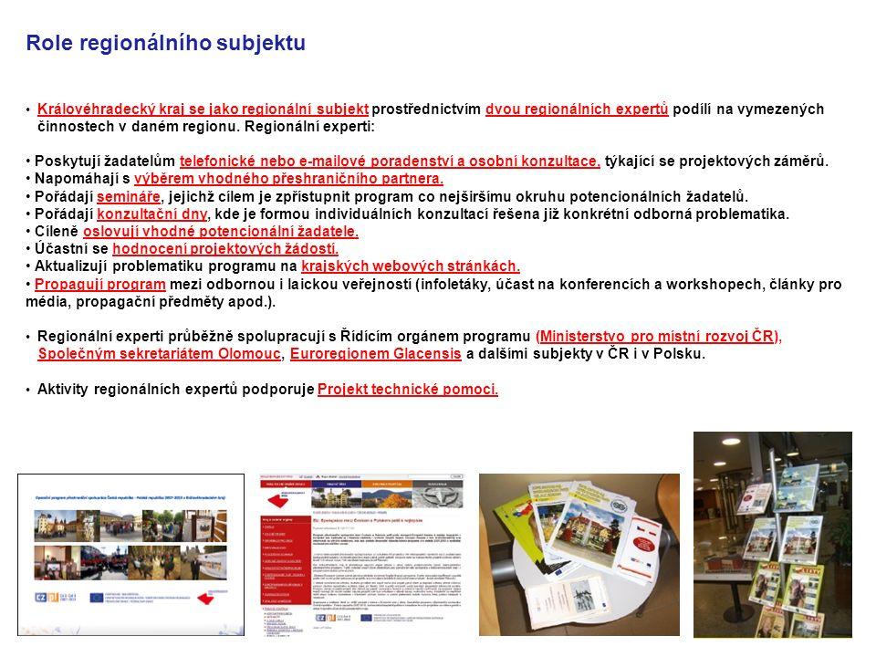 Královéhradecký kraj se jako regionální subjekt prostřednictvím dvou regionálních expertů podílí na vymezených činnostech v daném regionu. Regionální