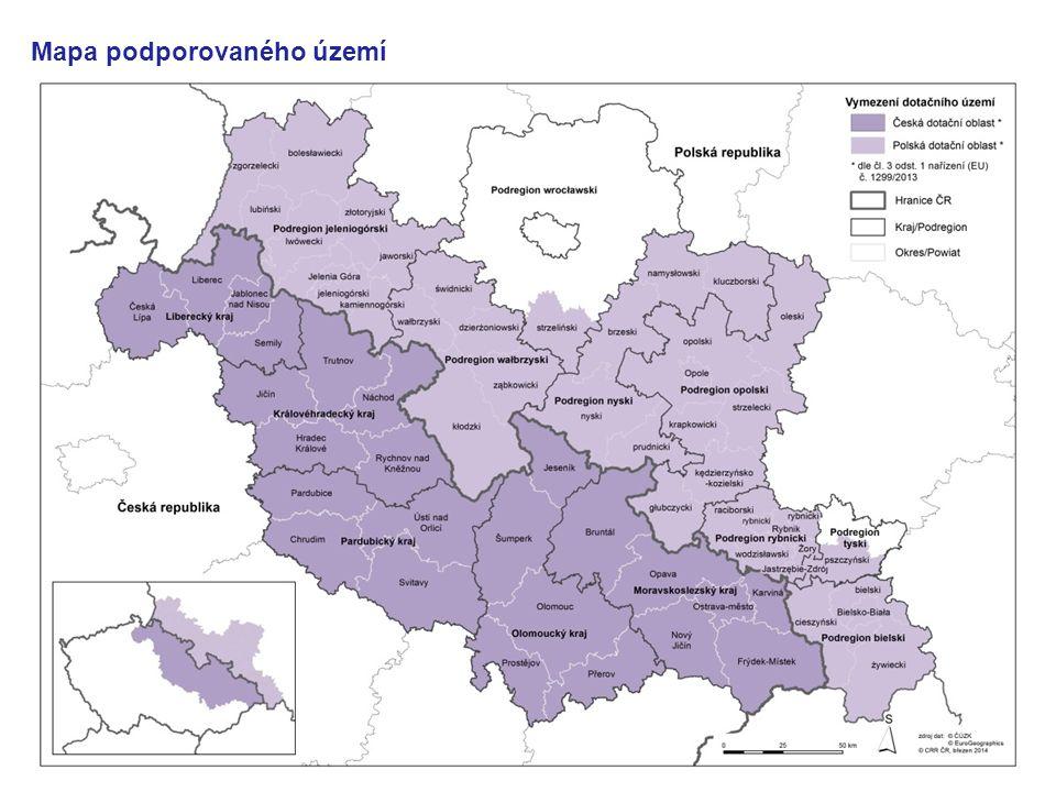 Mapa podporovaného území