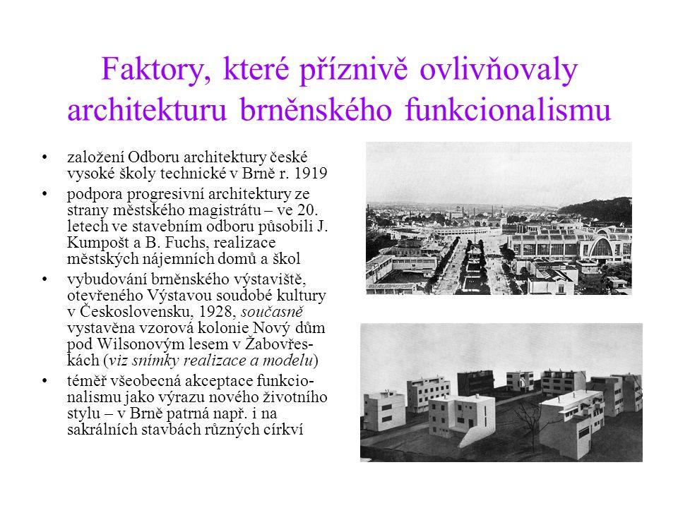 Faktory, které příznivě ovlivňovaly architekturu brněnského funkcionalismu založení Odboru architektury české vysoké školy technické v Brně r.