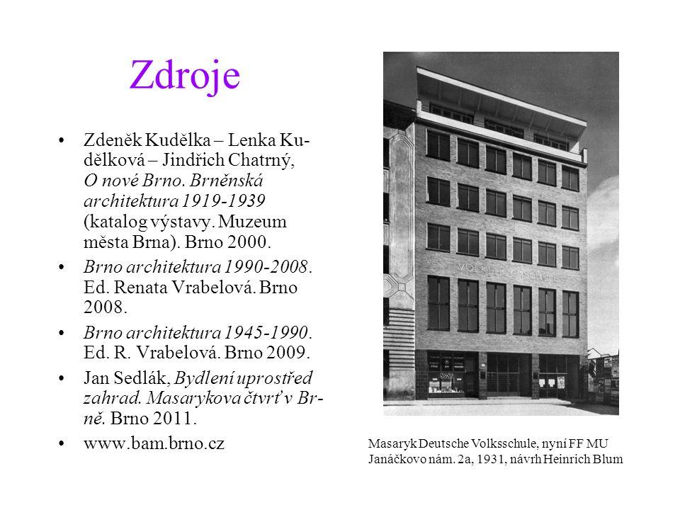 Zdroje Zdeněk Kudělka – Lenka Ku- dělková – Jindřich Chatrný, O nové Brno. Brněnská architektura 1919-1939 (katalog výstavy. Muzeum města Brna). Brno