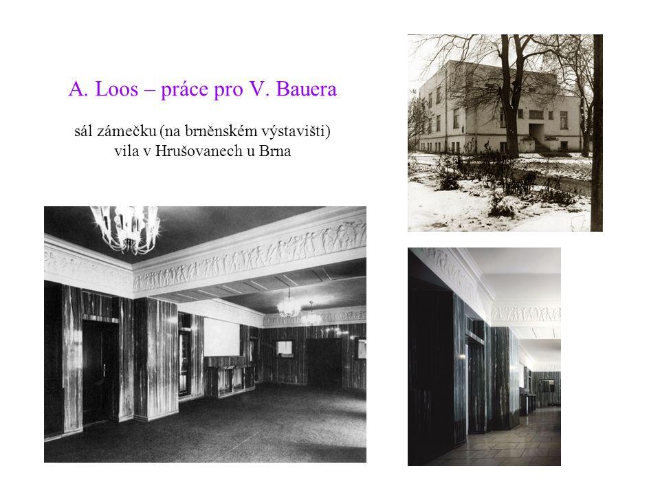 A. Loos – práce pro V. Bauera sál zámečku (na brněnském výstavišti) vila v Hrušovanech u Brna