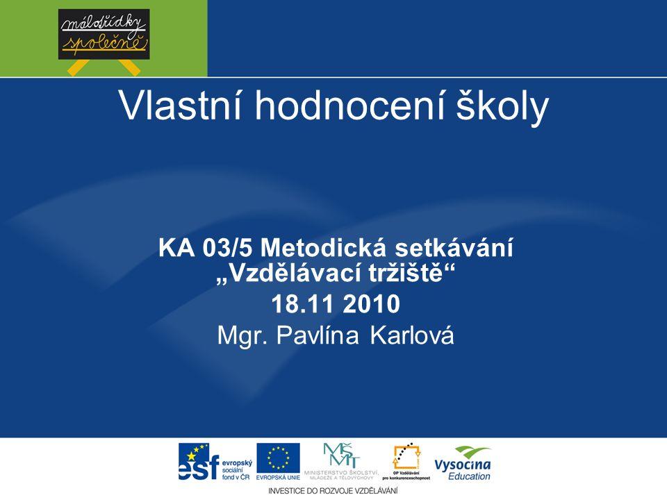 """Vlastní hodnocení školy KA 03/5 Metodická setkávání """"Vzdělávací tržiště 18.11 2010 Mgr."""