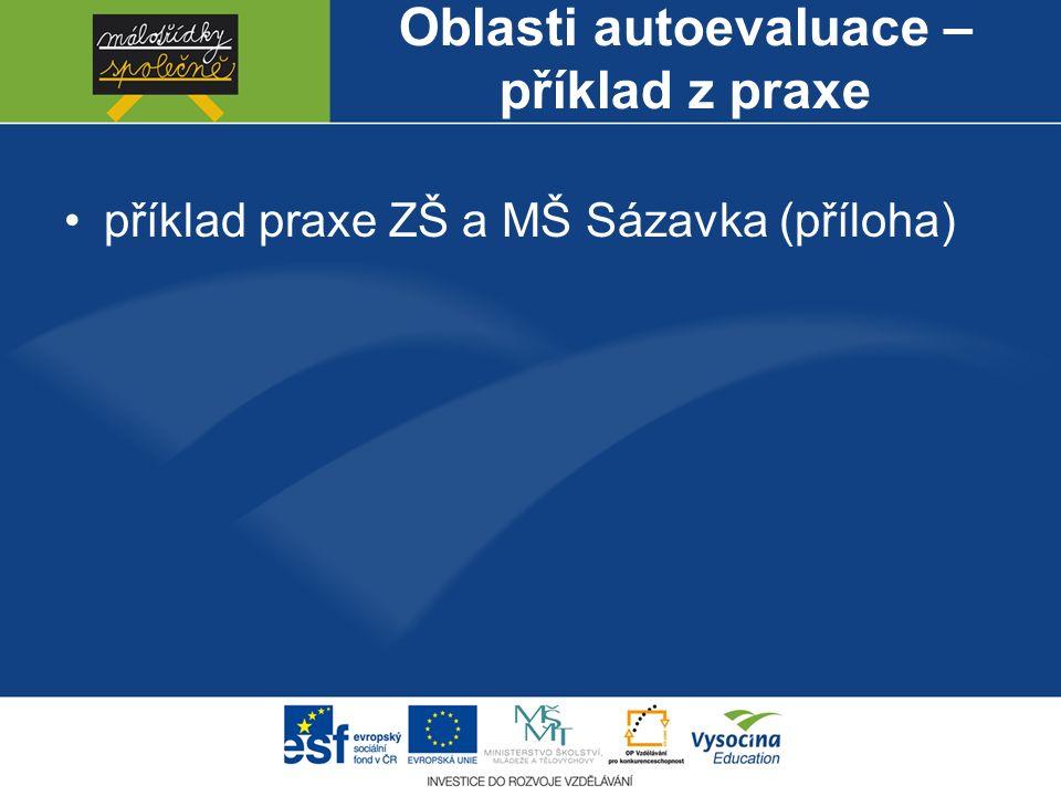 Oblasti autoevaluace – příklad z praxe příklad praxe ZŠ a MŠ Sázavka (příloha)