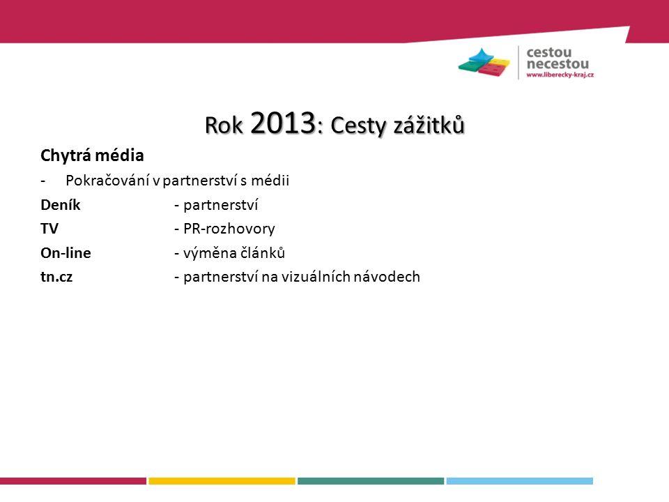 Chytrá média -Pokračování v partnerství s médii Deník- partnerství TV- PR-rozhovory On-line- výměna článků tn.cz- partnerství na vizuálních návodech Rok 2013 : Cesty zážitků