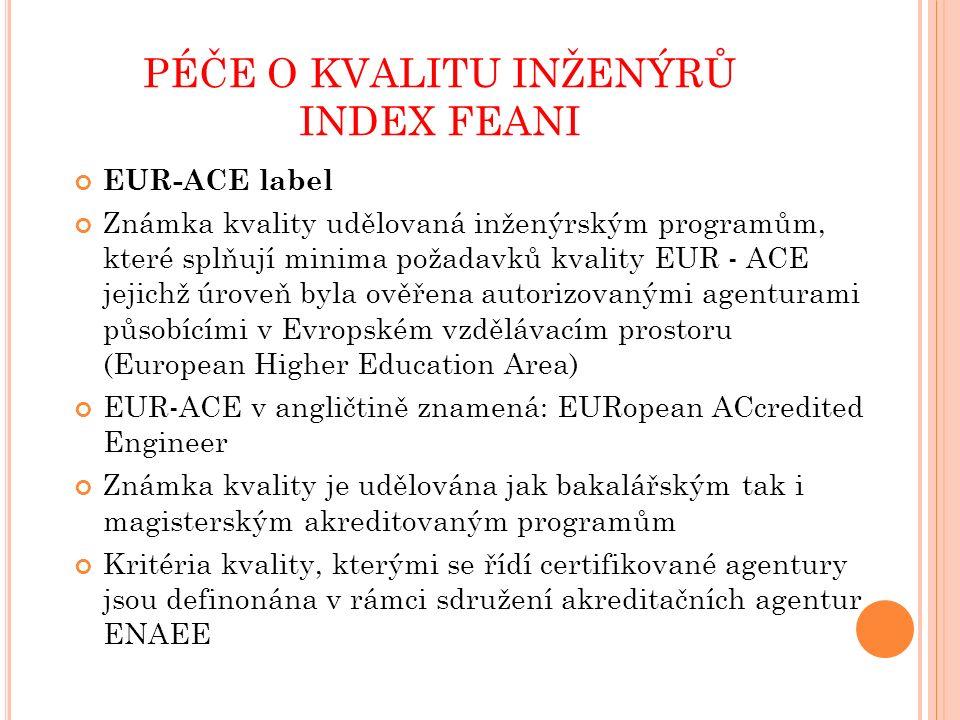 PÉČE O KVALITU INŽENÝRŮ INDEX FEANI EUR-ACE label Známka kvality udělovaná inženýrským programům, které splňují minima požadavků kvality EUR - ACE jejichž úroveň byla ověřena autorizovanými agenturami působícími v Evropském vzdělávacím prostoru (European Higher Education Area) EUR-ACE v angličtině znamená: EURopean ACcredited Engineer Známka kvality je udělována jak bakalářským tak i magisterským akreditovaným programům Kritéria kvality, kterými se řídí certifikované agentury jsou definonána v rámci sdružení akreditačních agentur ENAEE