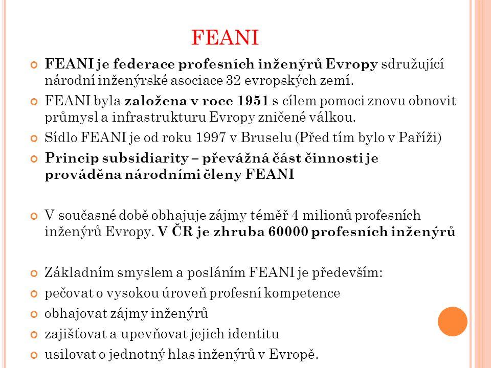 FEANI Hlavní aktivity FEANI: 1.