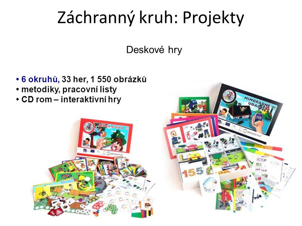 Deskové hry 6 okruhů, 33 her, 1 550 obrázků metodiky, pracovní listy CD rom – interaktivní hry Záchranný kruh: Projekty