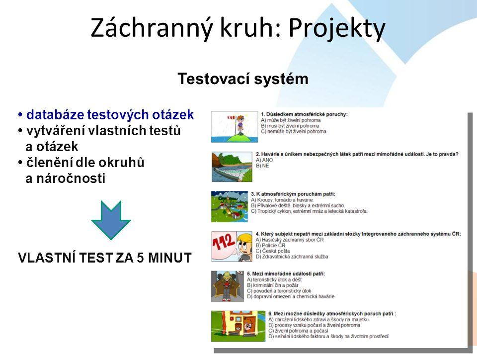 Testovací systém databáze testových otázek vytváření vlastních testů a otázek členění dle okruhů a náročnosti VLASTNÍ TEST ZA 5 MINUT Záchranný kruh: Projekty