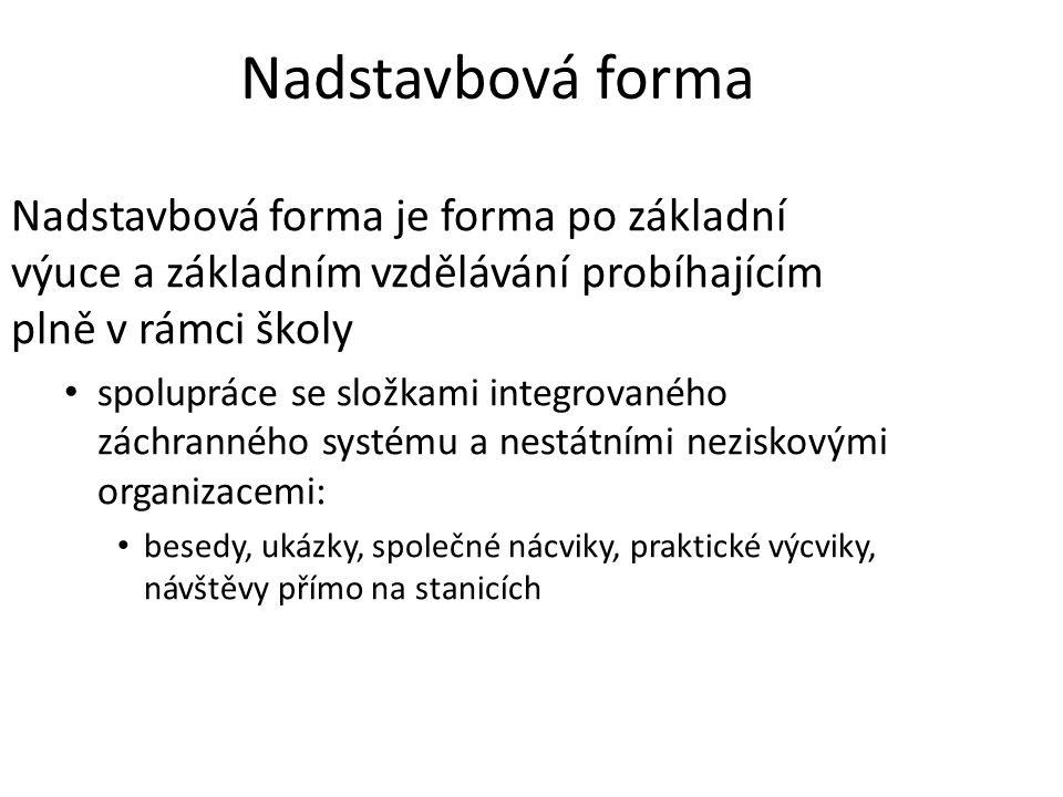 Nadstavbová forma Nadstavbová forma je forma po základní výuce a základním vzdělávání probíhajícím plně v rámci školy spolupráce se složkami integrova