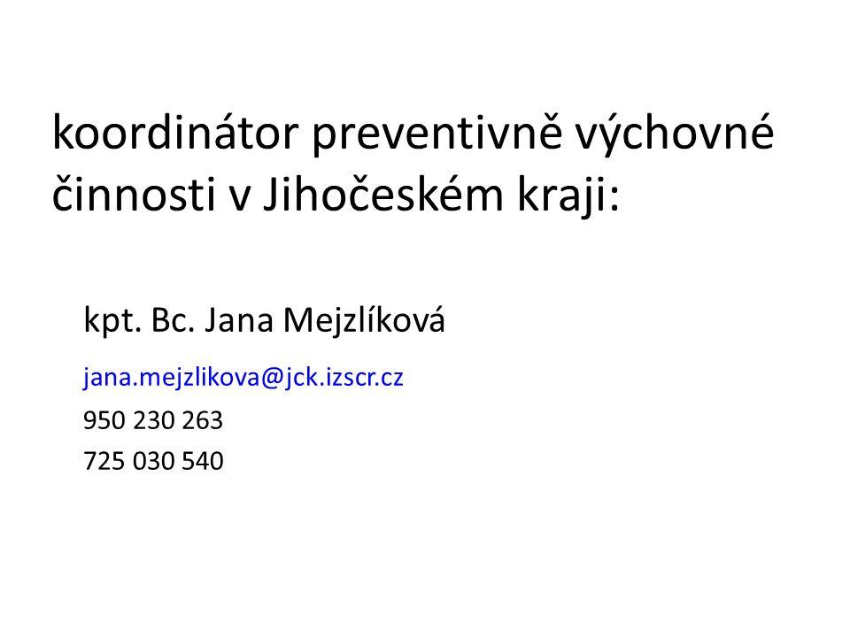 koordinátor preventivně výchovné činnosti v Jihočeském kraji: kpt. Bc. Jana Mejzlíková jana.mejzlikova@jck.izscr.cz 950 230 263 725 030 540