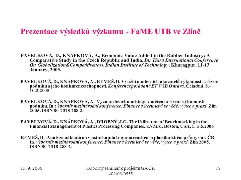 15. 9. 2005Odborný seminář k projektu GA ČR 402/03/0555 18 Prezentace výsledků výzkumu - FaME UTB ve Zlíně PAVELKOVÁ, D., KNÁPKOVÁ, A., Economic Value