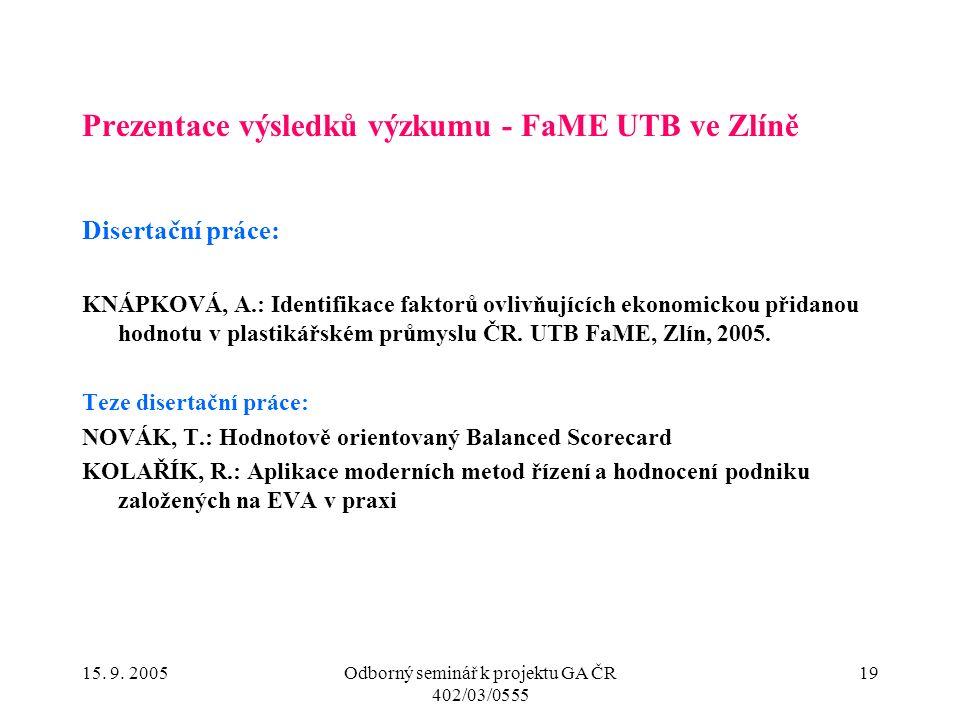 15. 9. 2005Odborný seminář k projektu GA ČR 402/03/0555 19 Prezentace výsledků výzkumu - FaME UTB ve Zlíně Disertační práce: KNÁPKOVÁ, A.: Identifikac