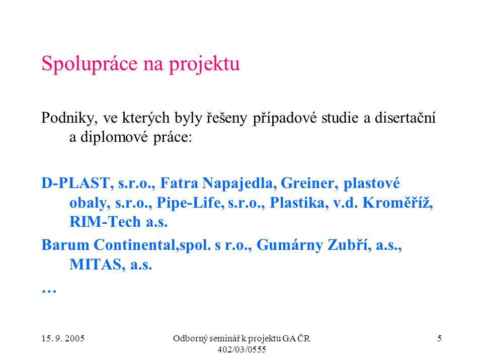 15. 9. 2005Odborný seminář k projektu GA ČR 402/03/0555 5 Spolupráce na projektu Podniky, ve kterých byly řešeny případové studie a disertační a diplo