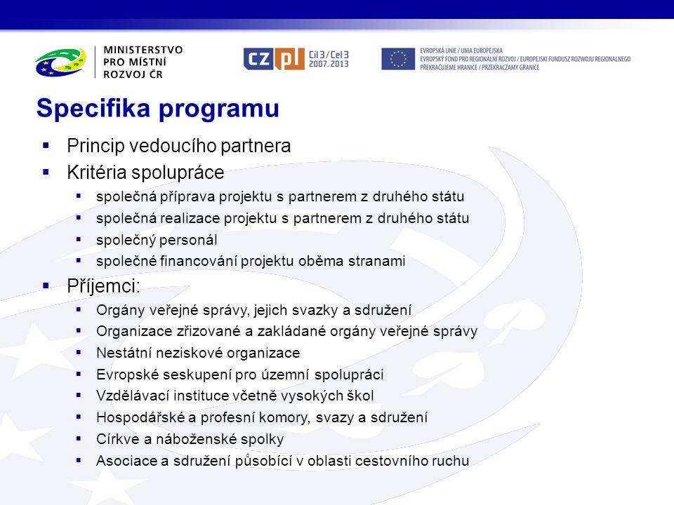  Princip vedoucího partnera  Kritéria spolupráce  společná příprava projektu s partnerem z druhého státu  společná realizace projektu s partnerem
